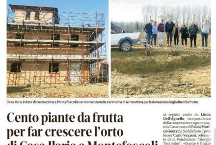 """""""Giorgio Tesi onlus"""" dona 100 alberi da frutta a Casa Ilaria"""